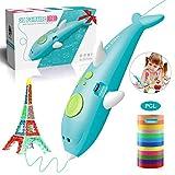 3D Stift Set, ALDOM 3D Stifte für Kinder mit 12 Farben PCL Filament 1.75mm, 3D Pen kreatives Geschenk für Erwachsene Kritzelei, Zeichnung und Kunst & handgefertigte Werke,Niedrigtemperatur,Blau
