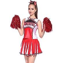 Anladia - Disfraz de animadora Para Adulto Mujer High School Color Rojo Talla 36 38 40 42 44 (XS (36))