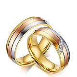 Blisfille Ring Silber Indien Paar Ringe Rosegold Damen Herren Titanring Dreifarbig Tricolor Drei Kreis Schlicht Gewölbt Glänzend Zirkonia Geburtstag Paarpreis Kostenlos Gravur