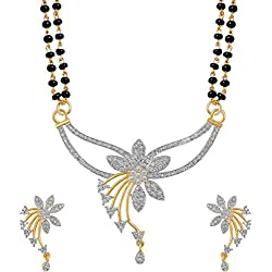 Navya Collections Alloy Gold Plating American Diamonds Studded Silver Coloured Mangalsutra Set For Women