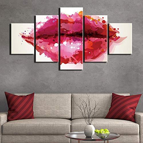 sanzx Red Lips Malerei Poster Und Drucke 5 Stücke Abstrakte Wandkunst Wandbilder Für Wohnzimmer Gedruckt Auf Leinwand Rahmenlose 30 * 40 * 2 30 * 60 * 2 30 * 80 cm