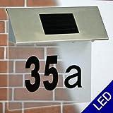 Edelstahl LED Solar Hausnummern Leuchte Außenlampe mit 4 LEDs