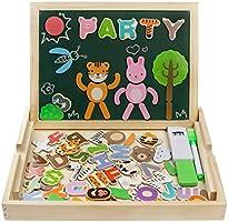 Puzzle di Legno Magnetica Lavagnetta Educativi Jigsaw Costruzioni Giochi e Gioco da Tavolo per Bambini 3 Anni