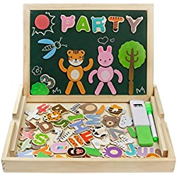 Puzzles de Madera Magnéticos Juguetes Educativos Dibujo con Caballete Puzzle para Regalos Niños 3 4 5 Años