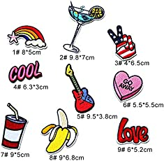 iDream Iron on Patches Embroidery Applique Decoration for Clothes L1-S10 (Pack of 9)
