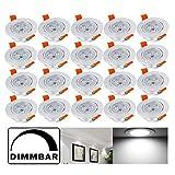 Hengda® 20X 3W LED Strahler Einbauleuchte Kaltweiß Dimmbar AC85-265V Für Flur Wohnzimmer Decken spot 255 LM