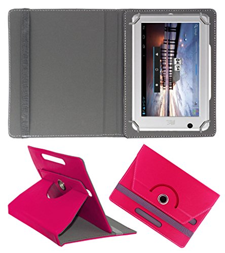 Acm Rotating 360° Leather Flip Case For Hcl Me U1 Tablet Cover Stand Dark Pink  available at amazon for Rs.149