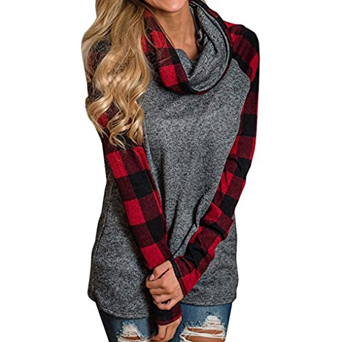 ZIYOU Damen Rollkragen Pullover Plaid, Herbst Winter Frau Freizeit Langarm Sweatshirt Pulli Outwear T-Shirt Tops (Rot, XXL)