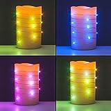 2er Set LED Echtwachskerzen mit Lichterkette im Farbwechsel - Inkl. Timer und Fernbedienung