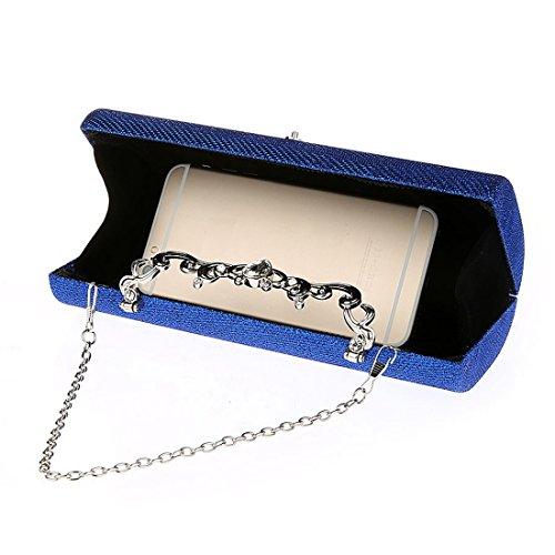 KAXIDY Damen Clutch Klassische Abendtasche Handtasche Blau