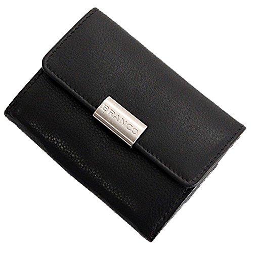 Branco Mini Leder Geldbörse Geldbeutel Portemonnaie Börse 9x7x2cm (Schwarz)