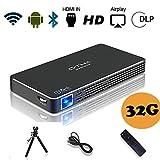 Pico Projecteur, OTHA Mini Projecteur Portable Videoprojecteur Android Home Cinema Sans Fil, 100 ANSI Lumens, Support USB / TF Carte, Hntrée HDMI à Votre Ordinateur Portable /PC/ PS4 (Mémoire 32G)