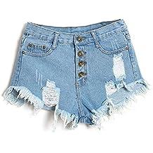 Minetom Mujer Verano Pantalones Cortos Vintage Denim Cortocircuitos Calientes Moda Cintura Alta Shorts