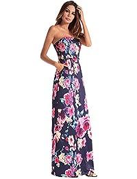 1ffaa2616 antaina Impresión Floral Azul del Hombro Backless Atractivo Largo  Oscilación Mujeres Vestido de Playa Bata