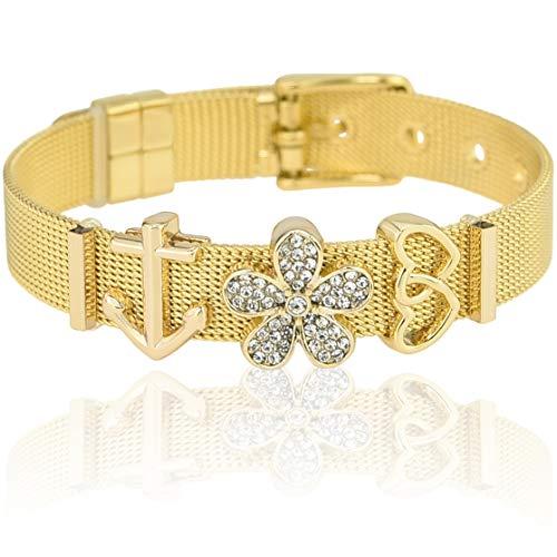 SUNIANA® - Mesh Armband Set mit Charms ♥Aloha♥ individuell erweiterbar| Charmband (Gold) (Armband Mit Charms Set Pandora)