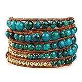 KELITCH Grün Perlen 5 Wicklen Leder Armband Neu Mode Handmade Damen Kette