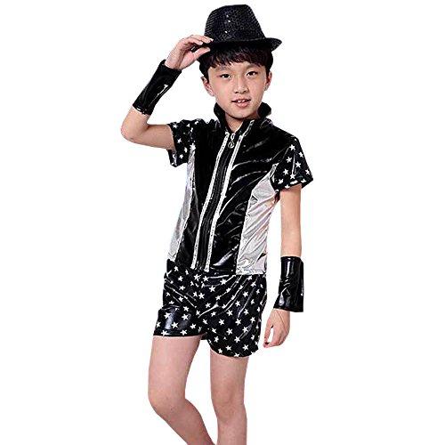 BOZEVON Jungen Mädchen Star Kurzarm Tanzen Kostüme Kinder Jazz Modern Auftritte Bühne Reißverschluss Kleidung, Schwarz, EU100=Tag110(110cm-Geeignete ()