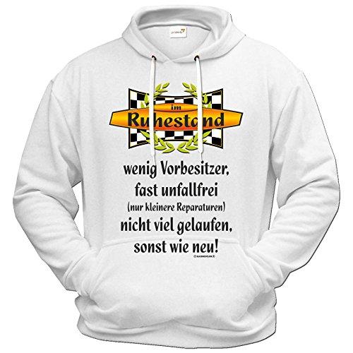 getshirts - RAHMENLOS® Geschenke - Hoodie - Geburtstag - Rente - Im Ruhestand - weiss XXL