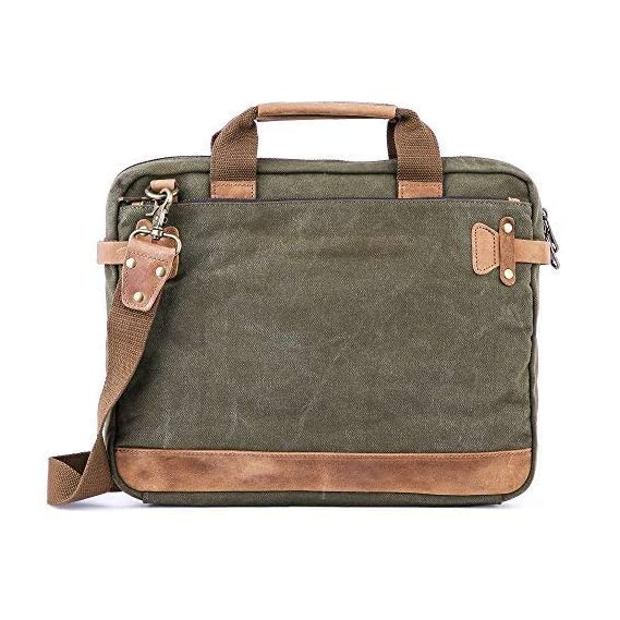MOCA 13.3 inch Universal Canvas Messenger Laptop Shoulder Bag for MacBook Air , Pro , Touch Bar, DELL HP Acer Xps (Green)