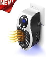 ToWinle Mini Heizlüfter 500W Elektrische Heizung Steckdose Heizgerät mit Timer Warmluftgebläse Handy Heater für Zuhause, Badezimmer und Büro Räume bis 10m² / 25m³