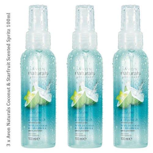 3x Avon Avon Naturals Coconut & Sternfrucht Ohrstecker Duft Spritz Body & Room Mist 100ml (3 Avon Naturals)