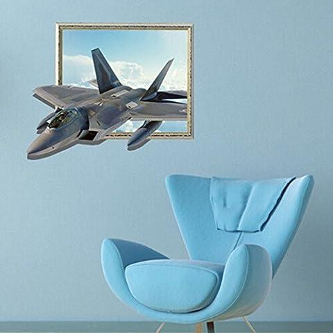 Yongse Aviones pared 3D Adhesivos de Sky engomadas de la pared del arte 27 pulgadas extraíble Decoración del hogar
