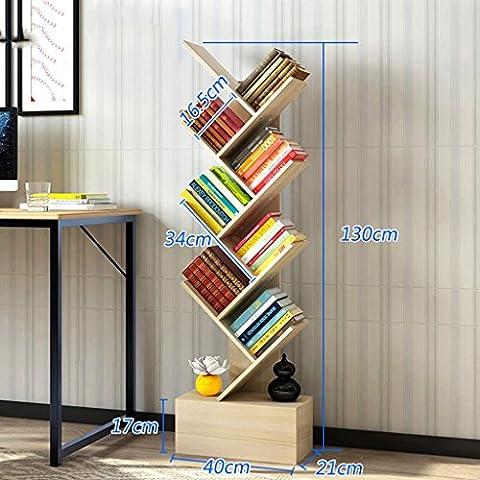 Creative Bookshelf Simple Bookcase Modern Shelf Bedroom Living Room Tree Shape Landing ( Color : Maple trees , Size : 130cm
