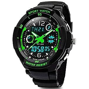 Digital Uhren für Kinder Jungen – Wasserdicht Outdoor Sports Digitaluhren Analog Armbanduhr mit Wecker/Timer/LED-Licht, Elektronische Stoßfest Handgelenk Uhr für Jugendliche Kinderuhren