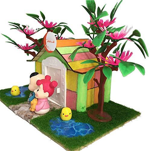 Miniaturhaus für Puppenhäuser, Trois Dimensions Bricolage Blocs Enfants Construire Rapidement des Jouets de Cabine de rêve Ont assemblé Cadeau à la Main Cadeau créatif pour garçons et Filles par Gimitunus