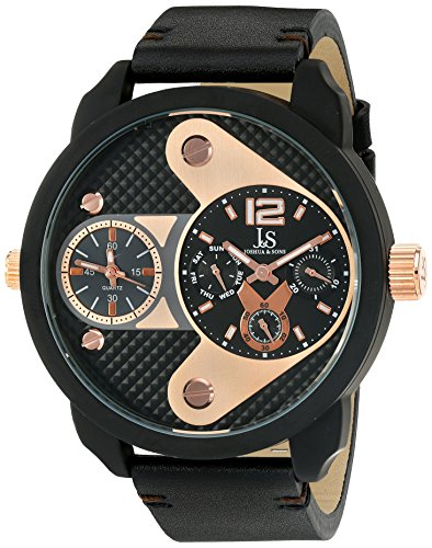 Joshua & Sons Men's JX107BKR Black Dual Time Zone Quartz Watch With Rose Gold Dial and Black Leather Strap
