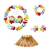6 pezzi per un set Kaymayn hawaiana multicolore lei ghirlanda di fiori, fiori di seta, set travestimento, per feste in costume e spiaggia tropicale per adulti, unisex(6 pezzi per un set/bambini )