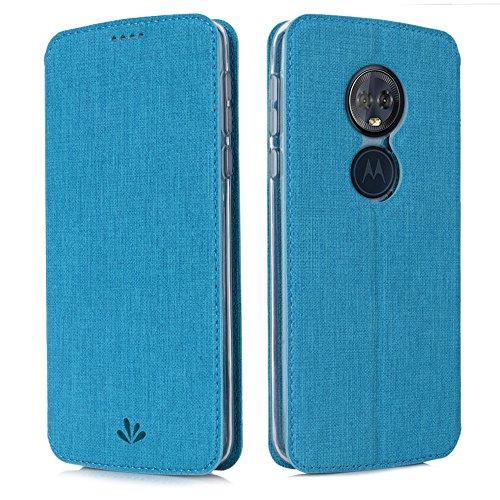 Eastcoo Handyhülle für Motorola Moto G6 Play Hülle PU Leder Flip Case Tasche Cover Schutzhülle mit [Standfunktion][Magnetic Closure][Wallet] für Motorola Moto g6 Play Smartphone (Blue)