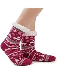 Women's Fuzzy Cozy Soft Warm Fleece lined Winter Slipper Socks Christmas With Non Slip Grippers