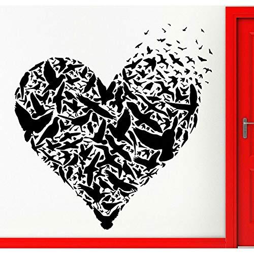 Vinyl-Wandapplikation bestehend aus Liebe und Vögel, Romantic Home Decor Wandbild Orange 57x59cm -