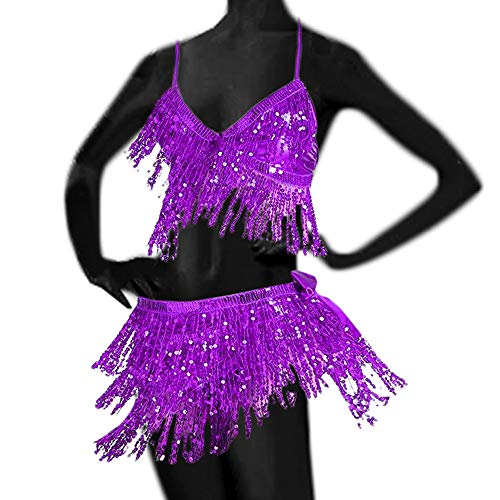 UPLEYING Kurze Bauch Pailletten Quaste Tanz Hüfttuch Kostüm Tanz BH Top Frauen Erwachsene (F) (Tanz-kostüme Für Frauen)