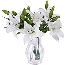 SUNNIOR 1 Bunch 3 Head giglio bianco Profumo Bouquet da sposa fiore artificiale / Graves / Vases,bianca(5Pcs)