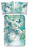 Good morning 5158-P, 135cm Blossom bettwäsche mit Blümen und Schmetterlinge, 100 Prozent Baumwolle, aqua, 200 x 135 x 0,5 cm