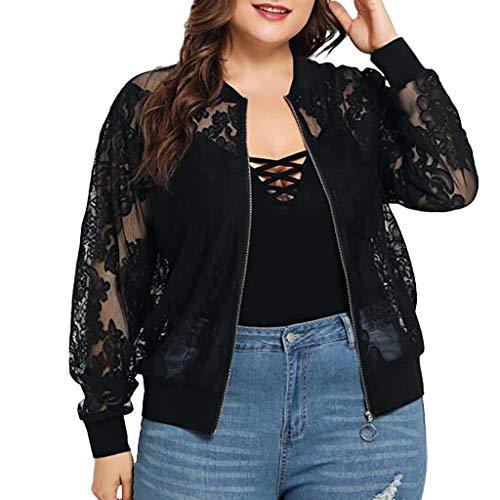 LEXUPE Womens Solid Plus Size Lace lose Schal Strickjacke vertuschen Langarm-Bluse Pullover Pulli Hoodie Tops (Men's Night Elf Kostüm)
