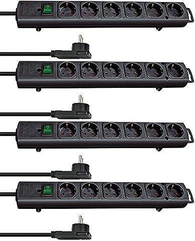 4-fach Sparset - Brennenstuhl Comfort-Line Plus, Steckdosenleiste 6-fach (mit Flachstecker, Schalter, 2m Kabel und extra breite Abstände der Steckdosen) Farbe: schwarz