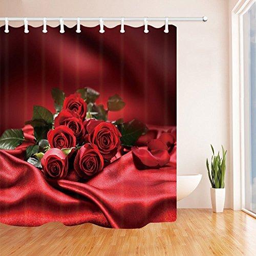 ntine 's Day Vorhang für die Dusche Rose Blume mit Grün Blätter auf rot Seide für Lover Schimmelresistent Stoff Bad Vorhang Badezimmer Dusche Vorhang Set mit Haken 180,3x 180,3cm (Rot Dusche Haken)
