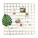 ANZOME Gitter Pinnwand, DIY Metall Foto Wand Gitter Dekoration und Schreibtisch Organisation für memo Artwork - Hängenimhaus - Küche - Büro - Gold deko -58 * 58 cm