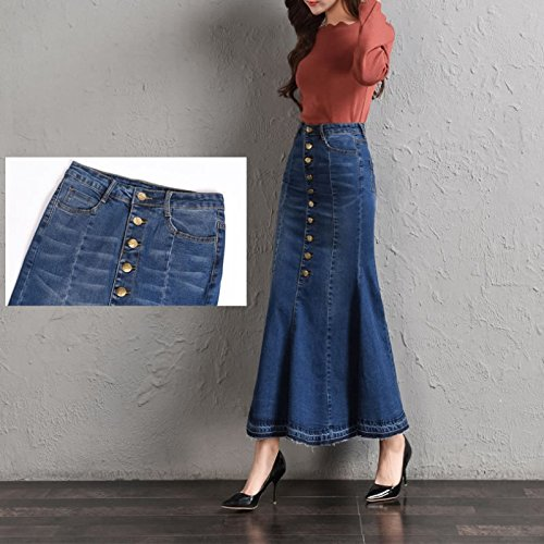 tic High Waist Package Hip Pencil Mermaid Fish Tail Vintage Long Women Ladies Denim Skirt Dress (Mermaid Tail Skirt)