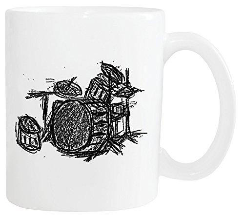 Mister Merchandise Kaffetasse Becher Drums Drumset Drum Schlagzeug Teestasse Weiß