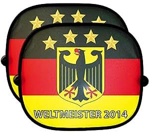 Weltmeister Deutschland 2 tlg. Set Auto-Sonnenschutz Fanartikel Sonnenblende Sonnenschutzblende für Seitenscheibe für Kinder Baby