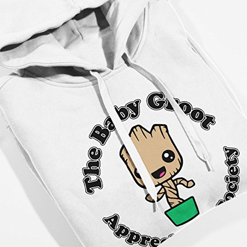 Guardians Of The Galaxy Baby Groot Appreciation Society Women's Hooded Sweatshirt White