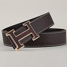d16ff17062 KOUG Cintura da Uomo in Pelle Casual Lettera Fashion Simple Smooth Fibbia  della Cintura, Brown