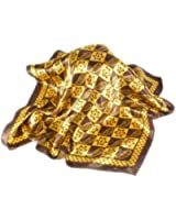 Satin neck scarf with Vintage Style Gold and Chocolate Brown Pattern - 50cm square
