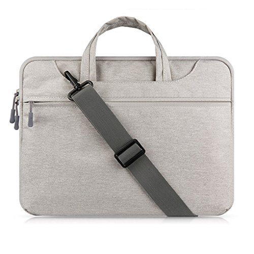 MacBook-Case-Sleeve-SATURCASE-Nylon-Plush-Liner-Handle-Shoulder-Strap-Sleeve-Bag-Case-Cover-Skin-with-Extra-Pocket-for-MacBook-and-Other-Brand-Laptops-Gray