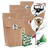 24 Papiertüten Kindertüten braun FUSSBALL-PARTY Kinder-Geburtstag 16,5 x 26 x 6,6 cm und 24 Aufkleber Sticker mit Fußball-Motiven für Fußball-Fans zum Geburtstag 4 cm f. Mitgebsel