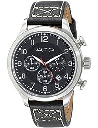 Nautica Herren-Armbanduhr XL Chronograph Quarz Leder A14696G
